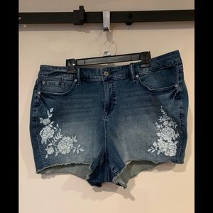 Torrid Denim Shorts with flower embroidery